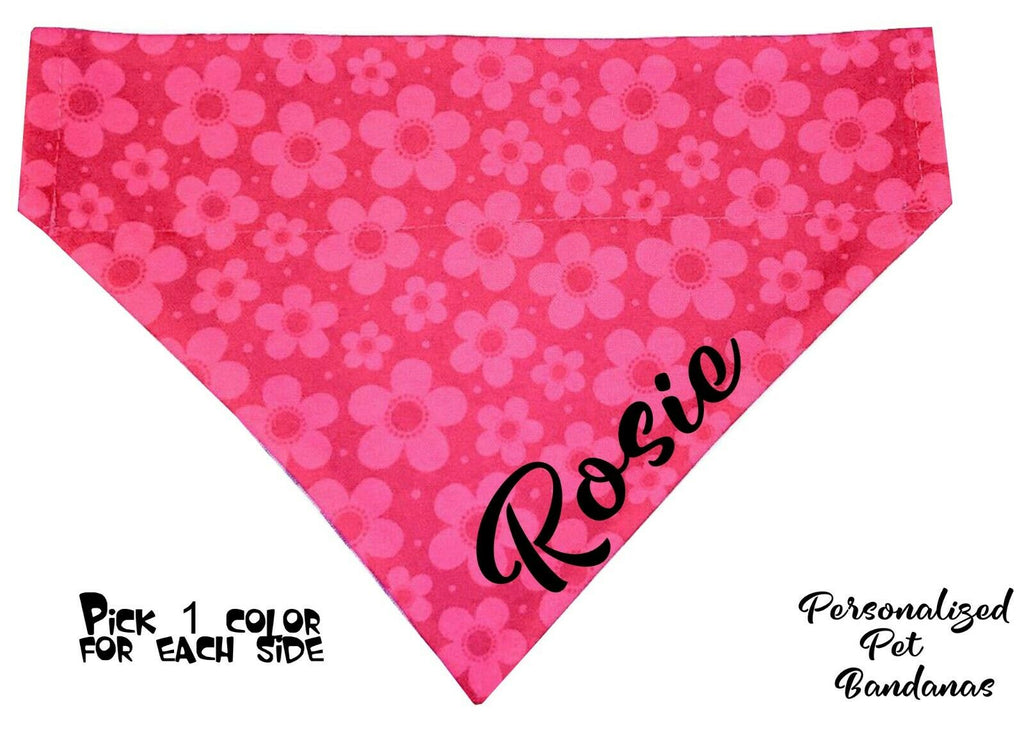 Personalized Dog Bandanas over the collar pet bandana Flowers 11 colors to pick - Furrypetbeds