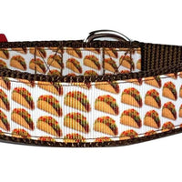 "Tacos snack dog collar handmade adjustable buckle collar 1"" wide or leash fabric - Furrypetbeds"