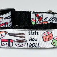 "Sushi dog collar 12.00 all sizes adjustable buckle collar 1"" wide or leash food - Furrypetbeds"