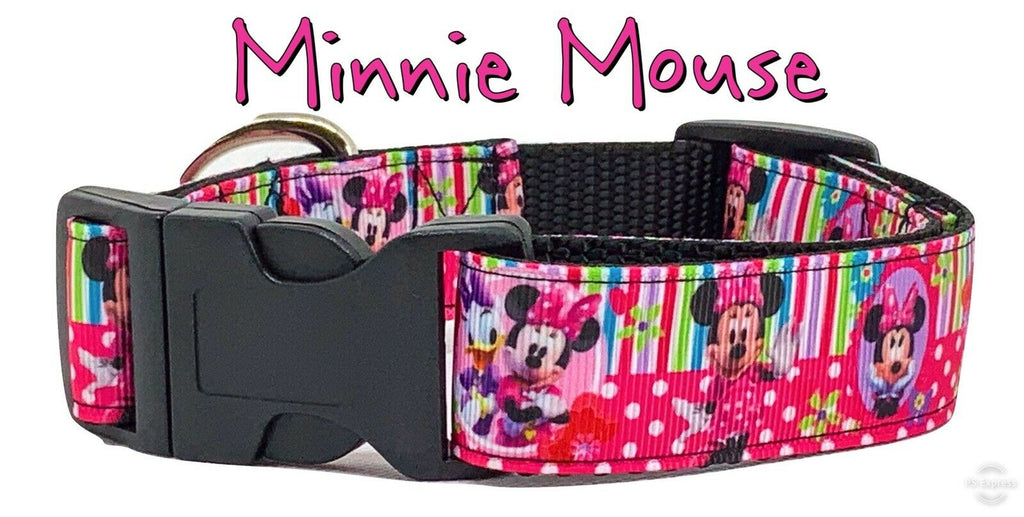 "Minnie Mouse Dog collar handmade adjustable buckle collar 1"" wide leash Disney - Furrypetbeds"