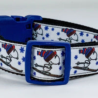 "Snoopy Skiing dog collar handmade adjustable buckle collar 1"" wide leash fabric - Furrypetbeds"