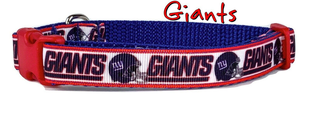"NY Giants dog collar handmade adjustable buckle collar 5/8"" wide or leash fabric - Furrypetbeds"