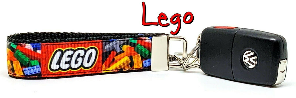 "Lego Key Fob Wristlet Keychain 1""wide Zipper pull Camera strap handmade game"