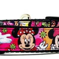 "Minnie Mouse dog collar handmade adjustable buckle collar 1""wide or leash Disney"