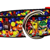 "M&M's candy dog collar handmade adjustable buckle collar 1"" wide or leash - Furrypetbeds"