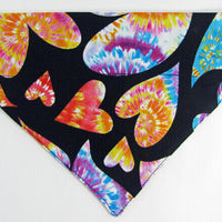 Hearts Dog Bandana, Over the Collar dog bandana, Dog collar bandana, puppy - Furrypetbeds