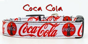 "Coca Cola Dog collar handmade adjustable buckle collar 5/8"" wide leash fabric"