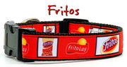 "Fritos dog collar Handmade adjustable buckle collar 1"" or 5/8"" wide or leash - Furrypetbeds"