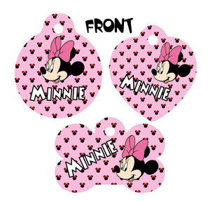 Pet ID Tag Minnie Mouse Personalized Custom Double Sided Pet Tag w/name & num - Furrypetbeds