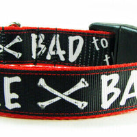 "Bad To The Bone dog collar handmade adjustable buckle 1"" or 5/8"" wide or leash - Furrypetbeds"