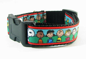 "Peanuts dog collar handmade $12.00  adjustable buckle collar 1"" wide or leash - Furrypetbeds"