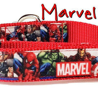 "Marvel Comics dog collar Handmade adjustable buckle collar 1"" wide or leash - Furrypetbeds"
