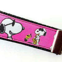 "Snoopy Key Fob Wristlet Keychain 1""wide Zipper pull Camera strap handmade - Furrypetbeds"