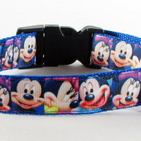 "Mickey Mouse dog collar handmade adjustable buckle collar 1""wide or leash Disney - Furrypetbeds"