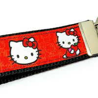 "Hello Kitty Key Fob Wristlet Keychain 1""wide Zipper pull Camera strap handmade - Furrypetbeds"