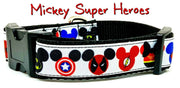 "Mickey Super Heroes dog collar handmade adjustable buckle collar 1"" wide - Furrypetbeds"