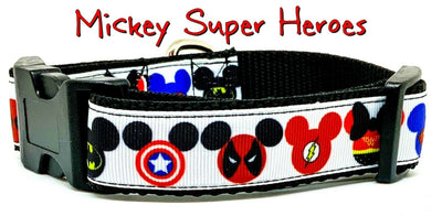 Mickey Super Heroes dog collar handmade adjustable buckle collar 1