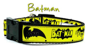 "Batman dog collar handmade adjustable buckle collar 1""or 5/8"" wide or leash - Furrypetbeds"