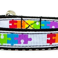 "Autism Awareness cat or small dog collar 1/2""wide adjustable handmade Or leashes - Furrypetbeds"