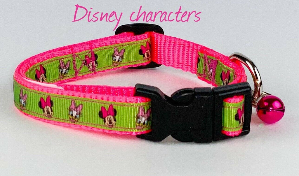 "Minnie Mouse cat or small dog collar 1/2"" wide adjustable handmade bell Or leash - Furrypetbeds"