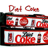 "Diet Coke dog collar handmade adjustable buckle collar 1""or 5/8"" wide or leash"