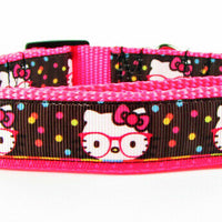 "Hello Kitty dog collar, Handmade, adjustable, buckle collar, 1"" wide, or leash - Furrypetbeds"