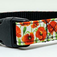 "Flowers dog collar handmade adjustable buckle collar 5/8"" wide or leash fabric - Furrypetbeds"