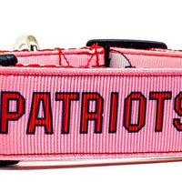 "Patriots girl dog collar handmade adjustable buckle 1"" or 5/8"" wide or leash - Furrypetbeds"