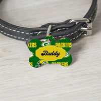 Pet ID Tag Packers NFL Personalized Custom Double Sided Pet Tag w/name & number - Furrypetbeds
