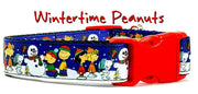 "Wintertime Peanuts dog collar handmade adjustable buckle collar 1"" wide or leash"