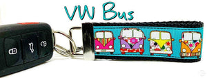 "VW Bus Key Fob Wristlet Keychain 1 1/4""wide Zipper pull Camera strap - Furrypetbeds"