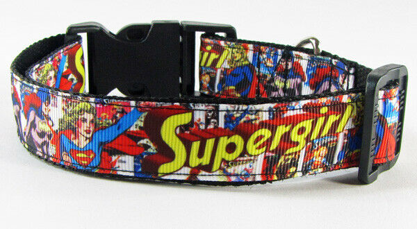 "Supergirl dog collar handmade adjustable buckle collar 1"" wide or leash $12 - Furrypetbeds"