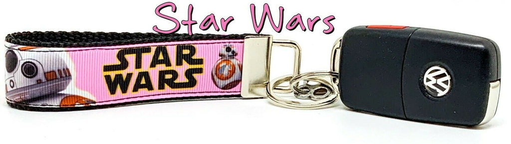 "Star Wars Key Fob Wristlet Keychain 1""wide Zipper pull Camera strap Girl Pink - Furrypetbeds"