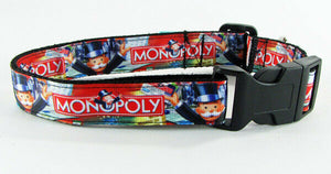"Monopoly dog collar handmade adjustable buckle collar 1""wide or leash fabric $12 - Furrypetbeds"