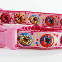 "Donuts dog collar handmade $12.00 adjustable buckle collar 1"" wide or leash - Furrypetbeds"