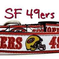 "SF 49ers dog collar handmade adjustable buckle football 1"" or 5/8"" wide or leash"