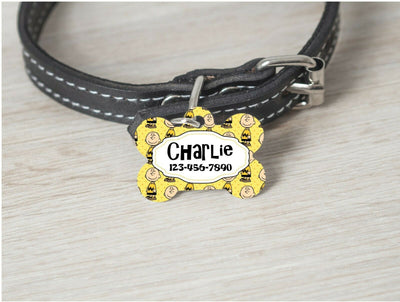 Pet ID Tag Peanuts Charlie Brown Personalized Custom Double Sided Pet Tag name - Furrypetbeds