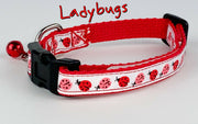 "Ladybugs cat & small dog collar 1/2"" wide adjustable handmade bell Or leash - Furrypetbeds"