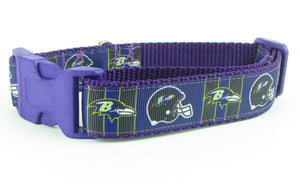 "Ravens dog collar handmade adjustable buckle collar football 1"" wide or leash - Furrypetbeds"