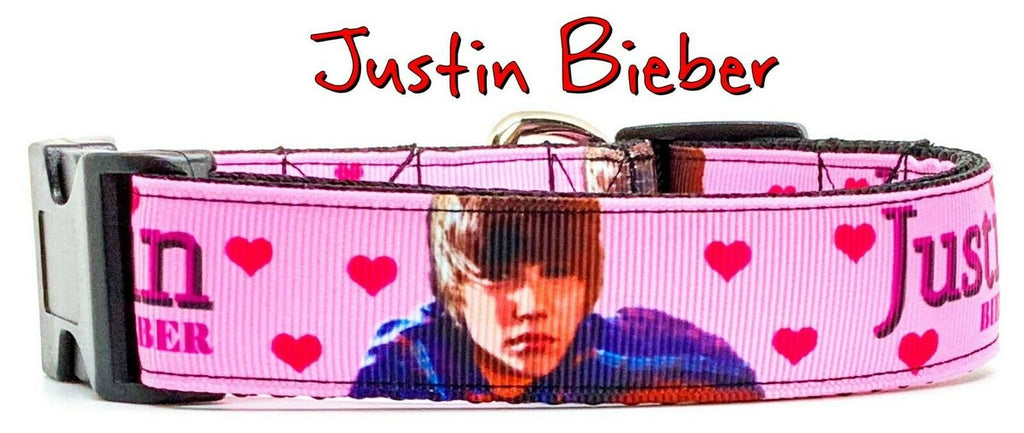 "Justin Bieber dog collar Handmade adjustable buckle 1"" wide or leash Rock N Roll - Furrypetbeds"