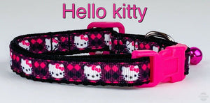 "Hello Kitty cat or small dog collar 1/2"" wide adjustable handmade bell leash - Furrypetbeds"