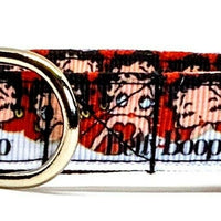 "Betty Boop dog collar handmade adjustable buckle collar 5/8"" wide or leash - Furrypetbeds"