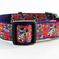 "Sugar Skulls dog collar handmade adjustable buckle collar 1"" wide or leash $12 - Furrypetbeds"