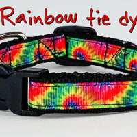 "Rainbow Tie Dye cat & small dog collar 1/2"" wide adjustable handmade bell leash - Furrypetbeds"