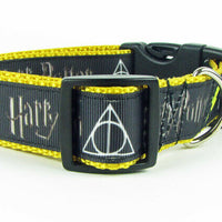 "Harry Potter dog collar handmade adjustable buckle collar 1""or 1/2""wide or leash"