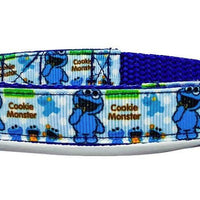 "Cookie Monster dog collar handmade adjustable buckle collar 5/8"" wide or leash - Furrypetbeds"