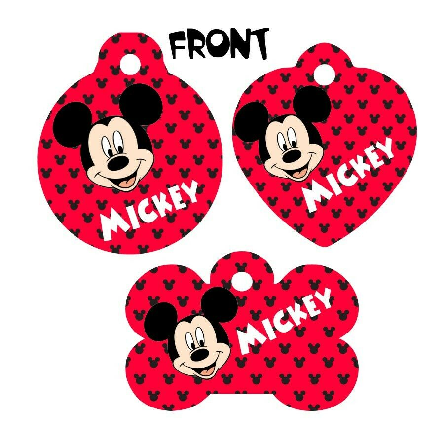 Pet ID Tag Mickey Mouse Personalized Custom Double Sided Pet Tag w/name & num - Furrypetbeds