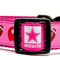 "Dallas Cowboys dog collar handmade adjustable buckle collar 1""wide or leash pink - Furrypetbeds"