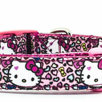 "Hello Kitty dog collar handmade adjustable buckle collar 5/8"" wide or leash"