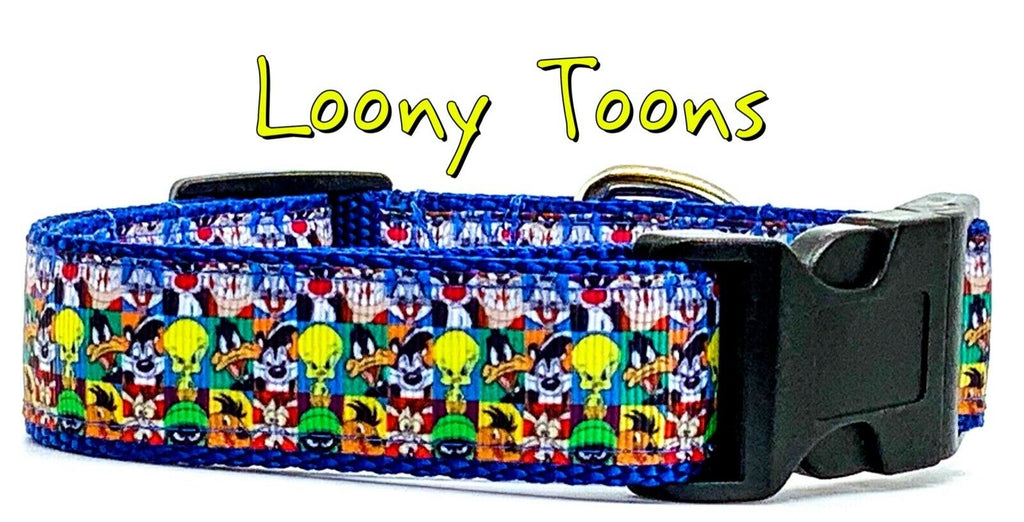 "Loony Toons dog collar handmade $12.00 adjustable buckle collar 1"" wide or leash - Furrypetbeds"